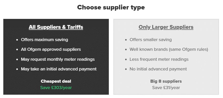 Choose supplier type