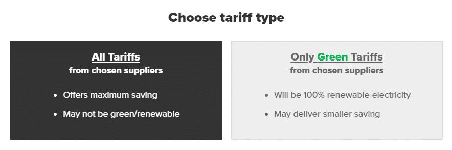 Choose tariff type